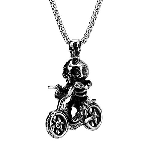 (Skull Riding Bicycle Pendant Necklace, Stainless Steel Sports Charm Bike Pendant Chain Necklace 24inches for Men Women Jewelry Black)