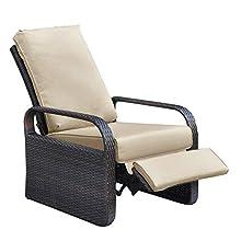 ATR ARTTOREAL Silla reclinable de mimbre con cojines, muebles de patio, sofá de ratán ajustable automático, resistente a los rayos UV/al agua/al sudor y al óxido, fácil de montar (Khaki)