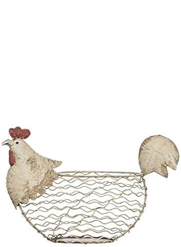 Chicken White Wire 14.5 x 10.5 Inch Metal Decorative Tabletop Basket