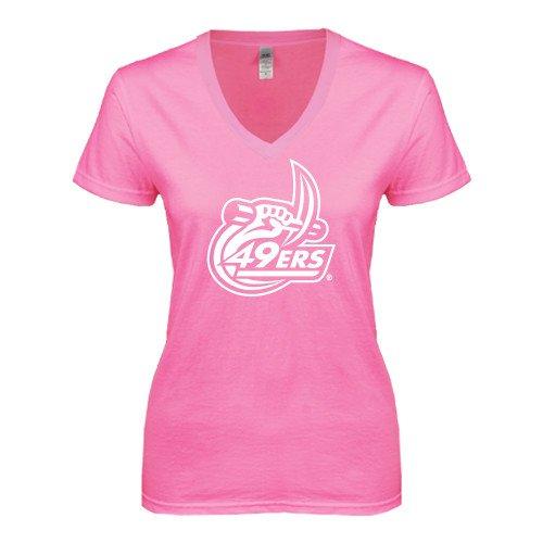 Charlotte Next Level Ladies Junior Fit Deep V Pink Tee '49ers Official Logo'