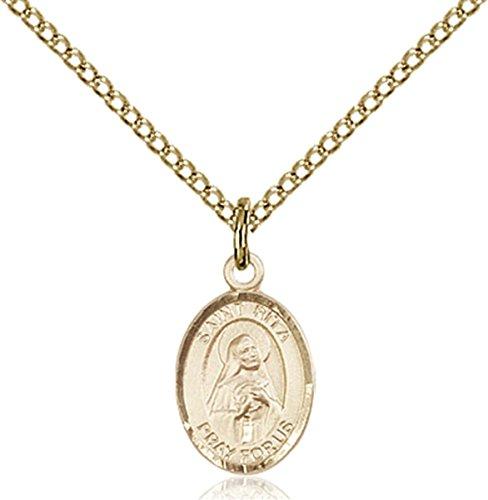14K Gold Filled Saint Rita of Cascia Petite Charm Medal, 1/2 Inch