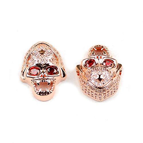 - Calvas 2pcs Skull Pendant Copper Spacer Beads Micro Pave CZ Crystal Metal Charms Loose Beads Jewelry Bracelet Making DIY Findings - (Color: Rose Gold Color, Item Diameter: 2pcs)