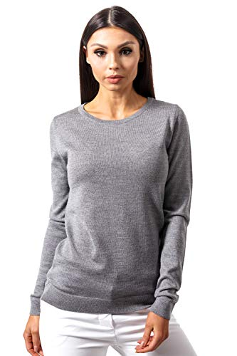 Pure Cashmere Crewneck Sweater - Women's Pure Merino Wool Classic Knit Top Lightweight Crew Neck Sweater Long Sleeve Pullover (Medium, Grey)