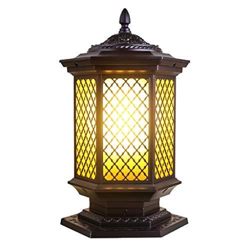 Column light Post Lights Door Post Light Waterproof Column Head Light End View Hotel Postal Light Garden Villa Door Light Garden Light (Color : Brown, Size : 13.827.545.5cm) ()
