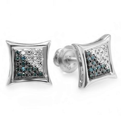 Dazzlingrock Collection 0.05 Carat (ctw) 10K White & Blue Round Diamond Micro Pave Setting Kite Shape Stud Earrings, White Gold ()