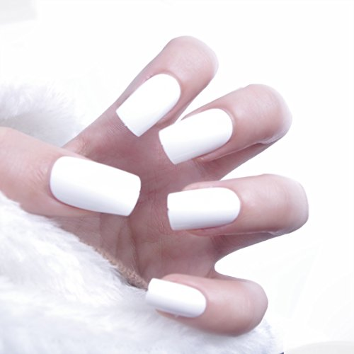 24pcs Summer Ice-cream Candy Cloud White Solid Medium Length Square Full Cover False Nails with Design