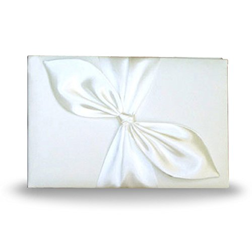 (SACASUSA ( TM ) Elegant Ivory Bridal Wedding Reception Guest Book with Nice Satin Bow)