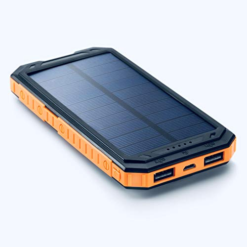 Solar Charger | 12000mAh Portable Solar Power Bank | Backup Battery Pack Dual USB | Waterproof Shockproof Short-Circuit Protection LED Light | Support for iPhone Android GoPro and More. ()