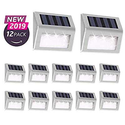 Otdair Solar Deck Lights, 3 LED Solar Step Lights Outdoor Auto On/Off Stainless Steel Solar Stair Lights Waterproof Wireless Solar Powered Lights for Fence Patio Garden Pathway - White Light 12 Pack