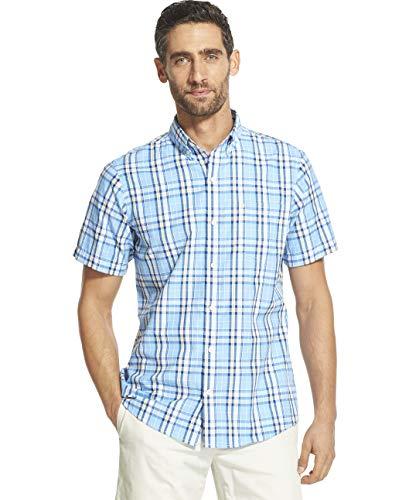 - IZOD Men's Breeze Short Sleeve Button Down Plaid Shirt, Little Boy Blue, Small