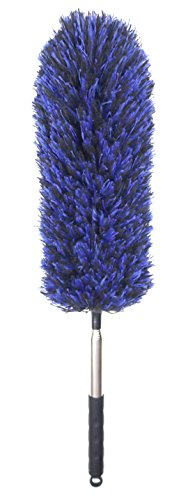 - Microfiber Feather Duster with Telescoping Extension Pole/Hypoallergenic Dust Cleaner/Bendable Flexible Cleaning Head/Extendable Tool for Ceiling Fan,Gap Dust,Blinds and Cobweb-Wet or Dry Use(Blue)