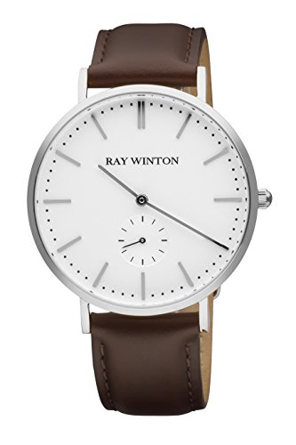 Ray Winton Men's Silver Steel Two-Hand White Dial Genuine Brown Leather Band Watch