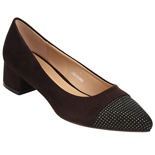 Beston JA07 Women's Chic Chunky Heel Studs Deco Pumps Shoes, Color:DARK BROWN, Size:7.5