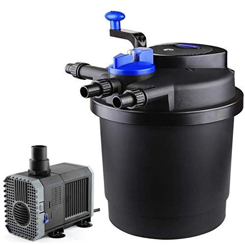 AQUANEAT 1600 Gal Pressure Pond Filter w/ 13W UV Sterilizer Koi Fish+1600GPH Water Pump