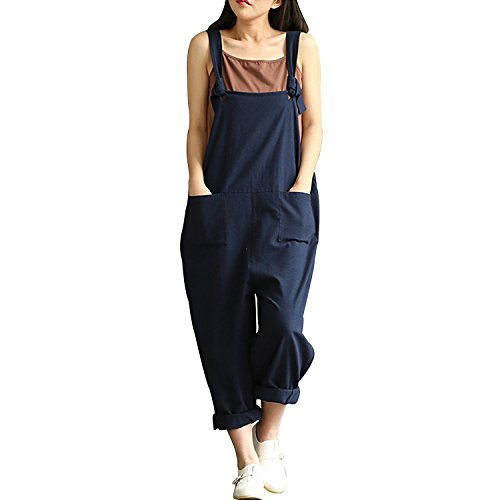 Overall Costumes Women (Women Casual Loose Cotton Linen Overalls Jumpsuit Playsuit Dark Blue 3XL)