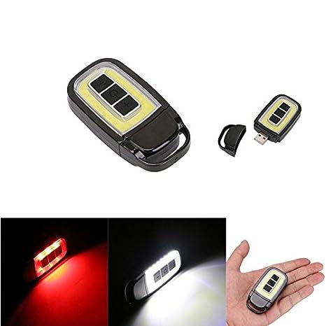 MASUNN Mini USB portátil COB Recargable LED Linterna Llavero ...
