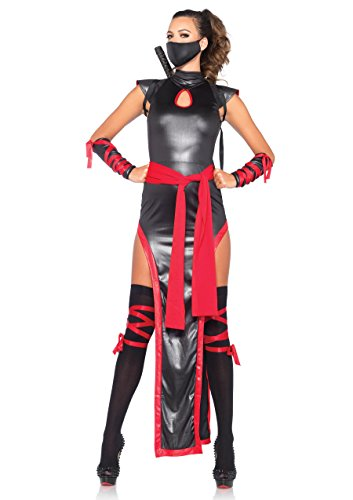Leg Avenue Women's 5 Piece Shadow Ninja Costume, Black/Red, Medium -