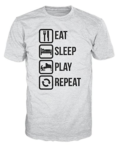 - Dalesbury Eat Sleep Play Piano Repeat Funny T-Shirt (XXL, Ash Grey)