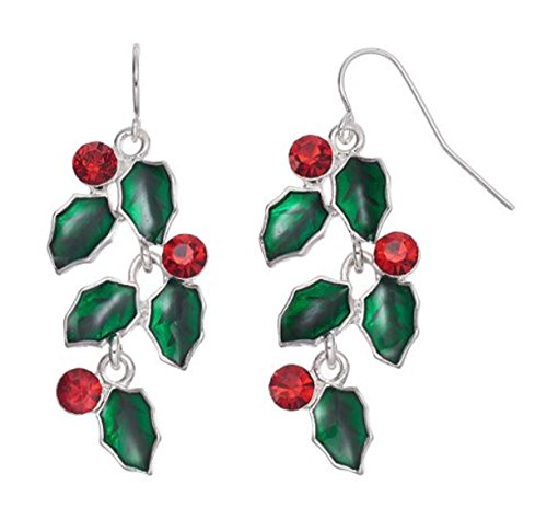 Festive Holiday Holly and Berries Drop Earrings