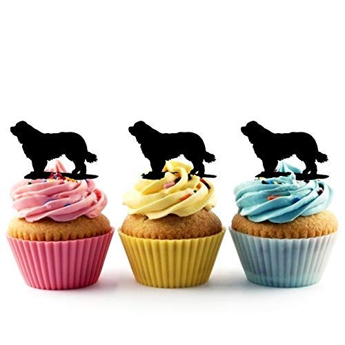 Newfoundland Dog Silhouette Acrylic Cupcake Toppers 12 pcs