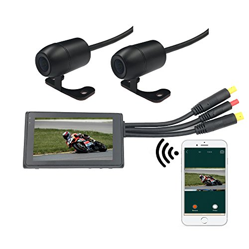 WIFI Motorbike Video Recorder Dual Lens 1080P Motorcycle Portable DVR with 720P Rear Camera 3 inch LCD Displayer Support Android and IOS Cellphone Preview