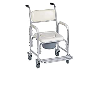 Aluminum Shower Chair/ bedside Commode W/ casters and Padded Seat, Commode Pail and Cover By Healthline Trading