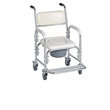 Amazon.com: Aluminum Shower Chair/bedside Commode W/casters and ...