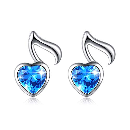 Musical Note Earrings - 925 Sterling Silver Music Note Heart Stud Earrings for Women