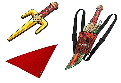 LEGO NINJAGO Bundle Ninja Set Sword & Sheath 853447, Fork Weapon 851336, Bandana (Ninjago Foam Sword)