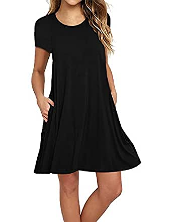 Sanifer Women's Short Sleeve Cotton T-Shirt Dress Swing Tunic Dress with Pockets (Small, Black)