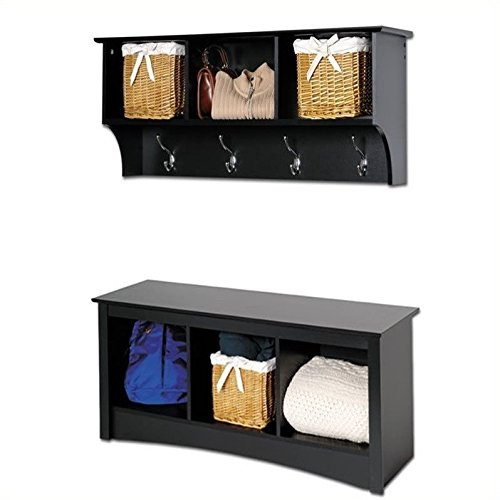 Prepac Sonoma Black Cubbie Bench and Wall Coat Rack Set by Prepac
