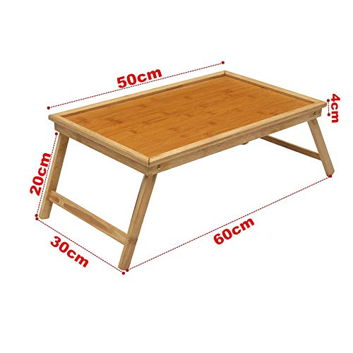 SaveStore Foldable Laptop Stand Holder Notebook Cooler Cooling Wooden Bamboo Bed Tray Breakfast Laptop Desk Tea Serving Table Stand