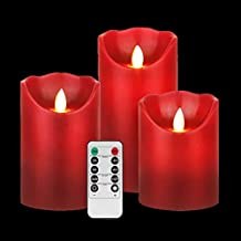 "GBATERI LED Burgundy Flameless Candle Set(4"" 5"" 6"") Dripless Real Wax Flickering Pillar Lights Battery Operated Realistic Dancing Red Candles with Remote and Timer for Parties Gifts and Decoration"