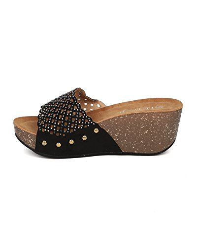 Sandalo Con Zeppa In Pelle Scamosciata Alrisco Da Donna - Sandalo Traforato Con Strass - Sottopiede - Gi45 Di Camoscio Nero