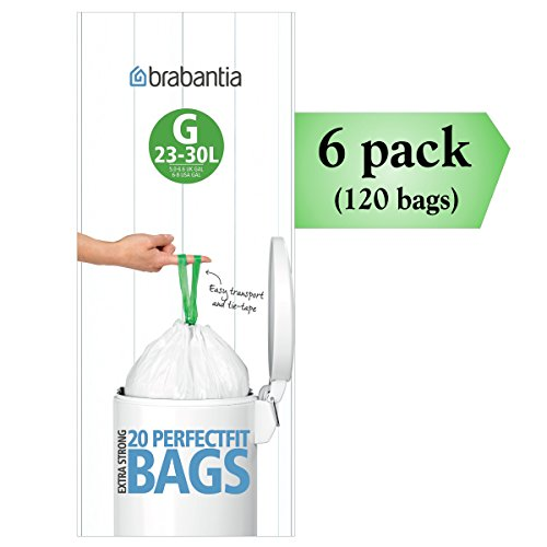 A/g Liner (Brabantia PerfectFit G 30 Liter Bin Liners ~ 20 Ct Bags (Pack of 6))