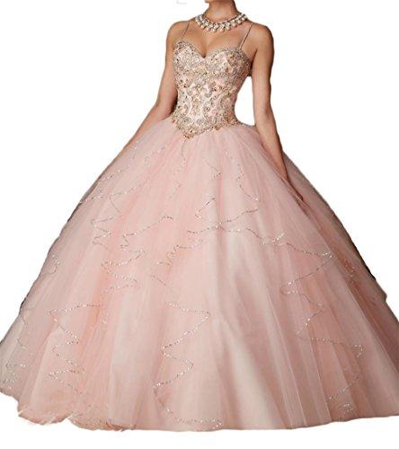 Dydsz Women's Quinceanera Dresses 2019 Prom Ball Gown 2 Piece Beaded Blush Pink D203 Blush 2 (Quinceanera Dresses)