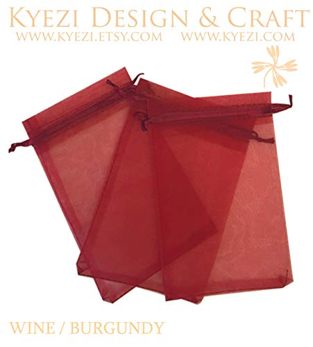 100 Pcs Burgundy 5x7 Sheer Drawstring Organza Bags Jewelry Pouches Wedding Party Favor Gift Bags Gift Bags Candy Bags [Kyezi Design and Craft]