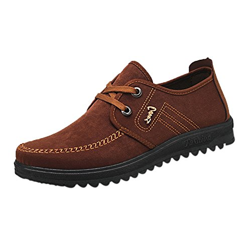 KESEELY Men Casual Sneakers - Breathable Non Slip Shoes Lace Up Shoes Round Toe Flat Leisure Banquet Shoes Brown]()