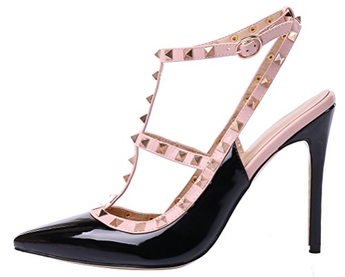 MONICOCO 2015 - Zapatos de vestir para mujer Schwarz-Pinke Seite Lackleder