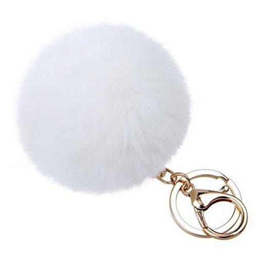- Midress Large Genuine Rabbit Fur Pom Pom Keychain Bag Charm Gold Ring Fluffy Fur Ball,Handbag Car Cell Phone Pendant Decor Ornament (White)
