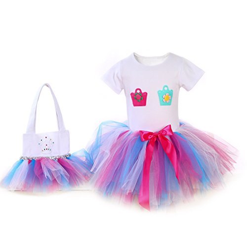 Girl's New Princess Tutu Ballet Dance Party Dress Set With T-Shirt Skirt and Bag (Girl's 3-4 YRS Old, (Halloween Costumes For 3 Year Olds)