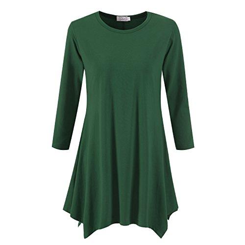 Topdress Women's Swing Tunic Tops 3/4 Sleeve Loose T-Shirt Dress Deep Green 3X ()