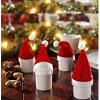 Rurah 10pcs Mini Christmas Hat Cup Bottles Cover Christmas Crafts Accessories Gift Home Decor