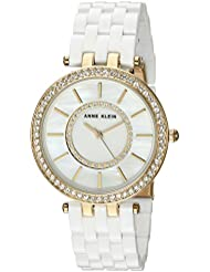 Anne Klein Womens AK/2620WTGB Swarovski Crystal Accented Gold-Tone and White Resin Bracelet Watch