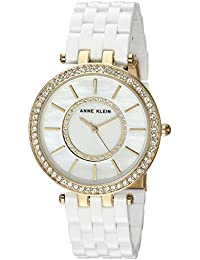 Anne Klein Women's AK/2620WTGB Swarovski Crystal Accented Gold-Tone and White Resin Bracelet Watch