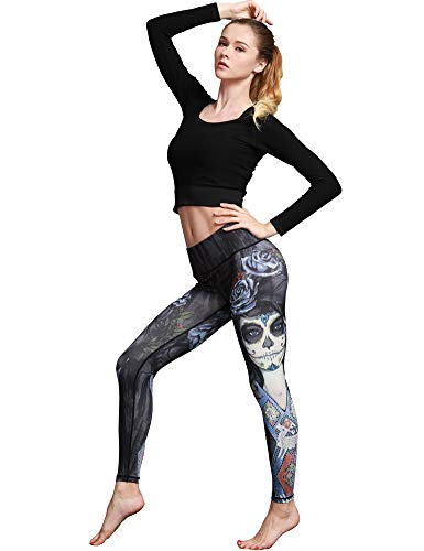Hioinieiy Womens Halloween Sugar Skull Printed Leggings Women's High Waisted Workout Spandex Cute Patterned Yoga Pants for Women Black M -
