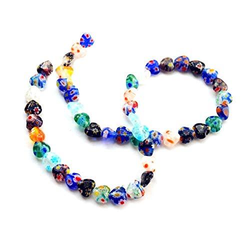 48Pcs/String Handmade 8mm Shining Heart Shape Millefiori Glass Craft Beads Multi-Color Flower Patterns Long Necklace Bracelet ()