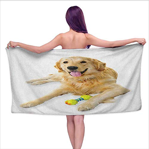 Andasrew Custom Bath Towel Golden Retriever,Pet Dog Laying Down with Toy Friendly Domestic Puppy Playful Companion, Multicolor,W28 xL55 for Toddlers