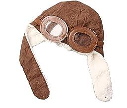BuyHere Unisex-Baby Aviator Earflap Cap,Coffee