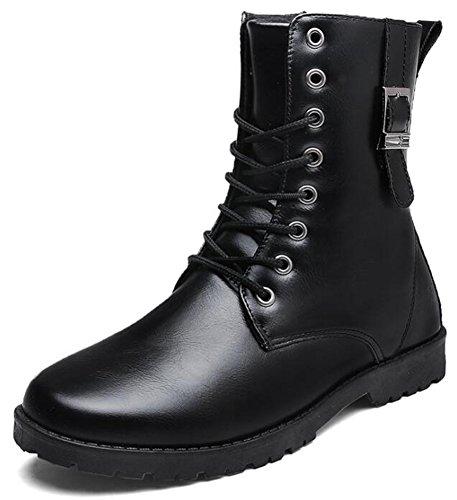 Booties Zipper Up Punk IDIFU Martin Toe Boots Black Round Ankle Mens Side Lace zw0Xa